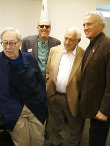 (L-R) Former 20th Century Fox CEO Chuck Ashman, Columnist Terry Richards, Hall of Fame Baseball Pitcher Tommy Lasorda, Kojak Co-Star Kevin Dobson at Jewish War Veterans Tribute to Medal of Honor recipient/Korean War Veteran Tibor Rubin who died on December 05, 2015 at age 86. It was held on December 20, 2015 at the CalVet Home West Los Angeles.