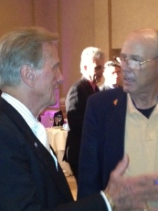 Terry Richards discussing the Homeless Veterans dilemma in Greater Los Angeles with legendary Singer,  Actor, and Song-Writer Pat Boone at the Nov 2012 NEW DIRECTIONS Veterans Drug and Substance Abuse Rehabilitation Center Charity Fundraiser Dinner at the Beverly Hilton Hotel in Beverly Hills...