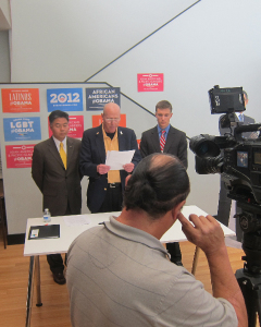 Veterans for Obama News Conference September 2012 at Santa Monica Obama/Democratic HDQ. From L-R is CA State Senator & Veteran Ted Lieu; Veterans Rights Advocate & Veteran Terry Richards; and Veteran Field Organizer & Veteran Richard Weir from The Truman National Security Project...