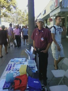 Terry Richards Campaigns for President Obama on the 3rd Street Promenade in Santa Monica.
