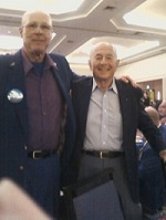 Right to Left is Korean War Veteran, LA Planning Commissioner, and State of California Democratic Delegate Joe Halper and Vietnam Era Veteran and Columnist Terry Richards at the 2012  LA County Democratic Party Awards Dinner.
