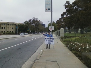 The turned-out-to be Demonic-Back-stabbing Robert Rosebrock carrying sign at one of his Sunday Rally's in May of 2012.