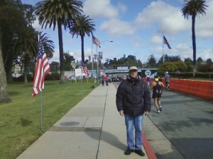 In connection with the above close-up photo at the Marathon, this is the distant photo of Terry Richards covering the March 2012 Los  Angeles Marathon which Robert Rosebrock endeavors to distort in the close-up one...