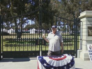 "Photo above is Robert Rosebrock speaking at June 04, 2012 Flag Day Ceremonies only ""talking-the-talk but never ""walking-the-walk""... When Terry Richards suggested to Rosebrock that we go down to ""skid-row"" to see if we could get some of those homeless Veterans who live on the street to attend some of the Sunday Rallies, Rosebrock implied that he would be embarrassed to have them Rally because he did not want the Brentwood Residents to see what kind of Veterans would actually be residing in Veterans Homes on this VA Land next door to them... Rosebrock also appeared scared to travel down to ""skid-row"" even though Richards told him that he had been down there a number of times and never had any problems talking to homeless Vets located in that area..."