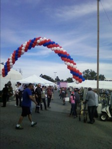 Front entrance to the Veterans Holiday Celebration just adjacent to Jackie Robinson Stadium at the West LA VA Medical Center.