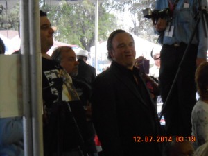 Proud Father Jim Belushi watching his Daughter Sing prior to his coming on stage.