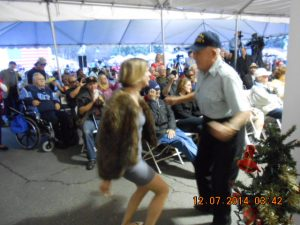 Lucky World-War 2 Veteran dancing with one of the Entertainment Volunteers who earlier sang on the Stage. At this time I do not have her name.