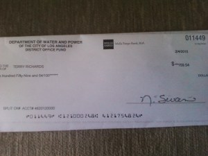 LADWP Refund Check 10-months after it was due.