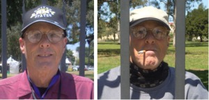 Terry Richards at West Los Angeles VA Main Gate posing for fun for photo on right with cigarette in mouth like he is in Jail taken shortly after arriving in Los Angeles.