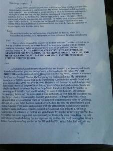 Danielle Cohen letter page 1.