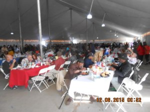 Inside food tent over 1000 Veterans and their guests at a time enjoy their Gourmet Meal