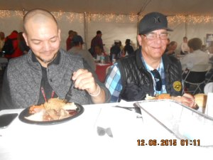 Veterans Anthony Priest and Richard Davis enjoying their Gourmet Meal.